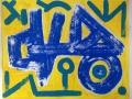 Blue Fallen Head With Symbols